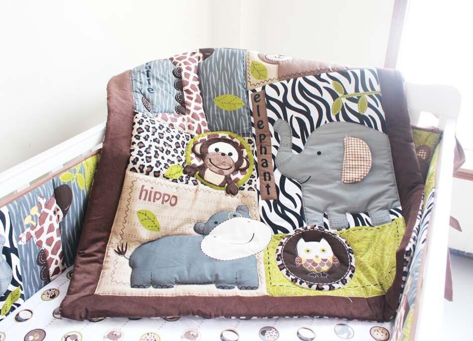 Ups Free Embroidered 3d Monkey Bear Deer Animals Brown Baby Cradle Bedding Set Cunas Crib Quilt