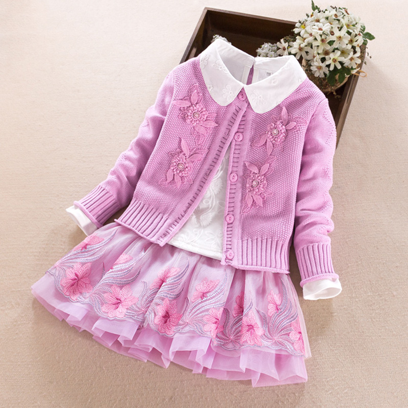 Baby girls Clothing set Autumn Winter Kids Cotton Sweater Coat+Shirt+Lace Skirt 3pcs suit for girls bead Flower Children clothes baby fashion clothing kids girls cowboy suit children girls sports denimclothes letter denim jacket t shirt pants 3pcs set 4 13