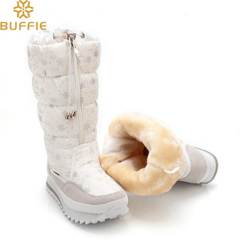 Botas de invierno 2018 botas de nieve altas para mujer zapatos de felpa calientes de talla grande 35 a grande 42 zapatos con cremallera blanca para mujer botas calientes