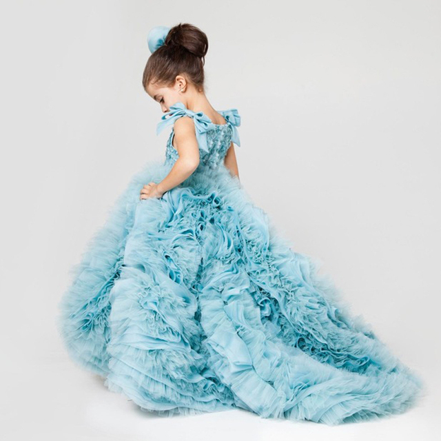 2ad8f277edad Mint Blue Luxury Little Girls Ball Gown Pageant Dress Tiered Puffy ...