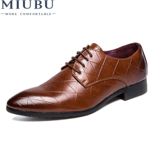MIUBU 2019 Luxury Brand Men Flats Fashion High Quality Genuine Leather Shoes Mens Lace Up Business Dress Oxfords For