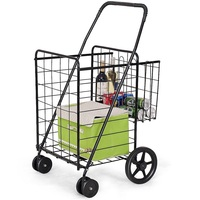 Shopping Cart Jumbo Basket for Grocery Laundry Travel With Swivel Wheels Home Organization and storage Basket TL32734