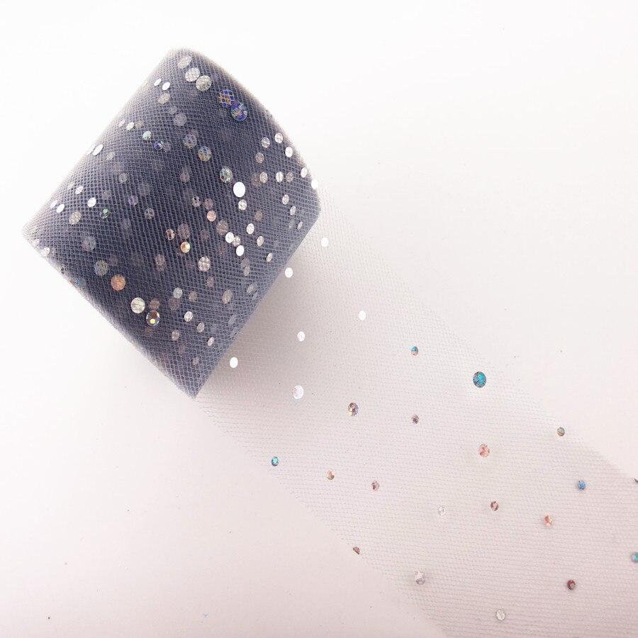 25 ярдов/рулон 6,5 см блеск рулон тюля с блестками Свадебные украшения кружева, тюль, платье-пачка «сделай сам» из органзы Baby Shower вечерние поставки - Цвет: AQ37