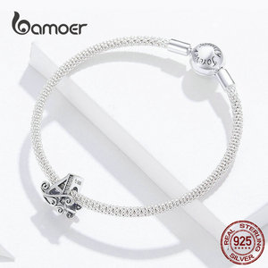 Image 3 - bamoer Name Jewelry Letter A Charm Bracelet Silver 925 Alphabet Metal Beads Female Fashion DIY Jewelry Making SCB829