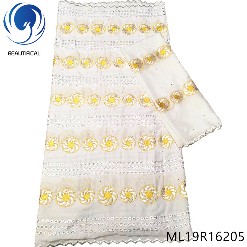 BEAUTIFICAL nigerian lace fabrics 7yards white swiss lace fabric New arrival gold embroidery cotton lace fabric ML19R162BEAUTIFICAL nigerian lace fabrics 7yards white swiss lace fabric New arrival gold embroidery cotton lace fabric ML19R162