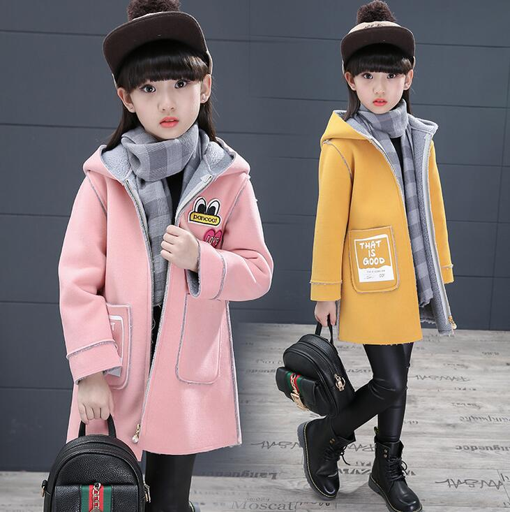 Girls Zipper Winter Woolen Coat Hooded Long Sleeve Character Casual Coats Mid-long Thicken Warm Children Outerwear Manteau Fille stylish hooded long sleeve drawstring mid length jeans coat for women