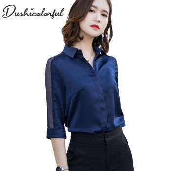 Dushicolorful women Casual half Sleeve Lace Blouse black white OL Shirts navy blue pink Hollow tops high quality Stain plus size