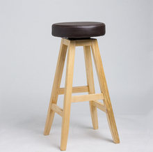 Purple blue simple fashion creative rotating wood wine front bar chair high stool bar stool(China)