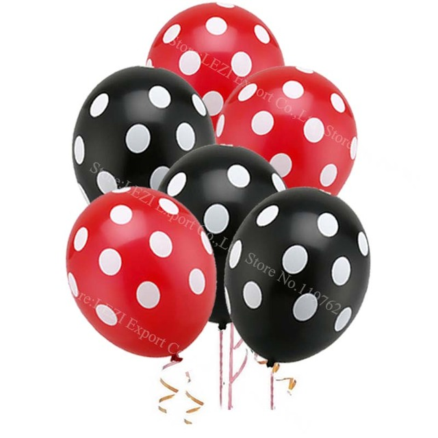 CHLEZI 30pcs Ladybug Polka dot latex balloon globos Mickey Minnie party Birthday presents balloons wedding Decorations Black Red