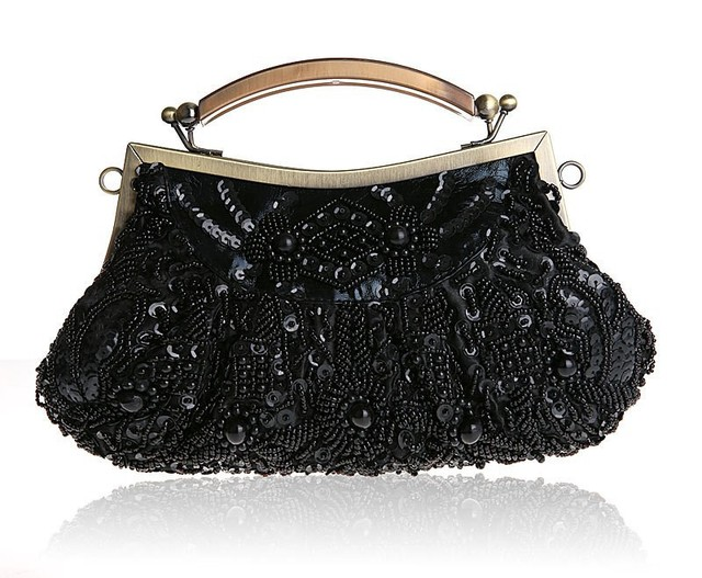 Fashion Black Ladies' Beading Beaded Banquet Handbag Clutch Party Bridal Evening Bag with Shoulder Chain Purse MakeupBag 0002-G