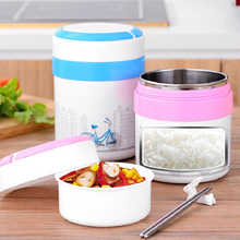 Lunch Box Stainless Steel Round Double Layer Food Container Portable with Compartment for Kids Picnic School Bento