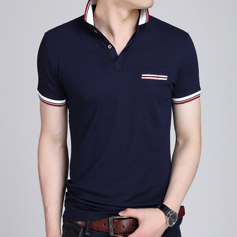 Men Polo Shirt 2019 Summer Men Business Casual Breathable White Striped Short Sleeve Polo Shirt Pure
