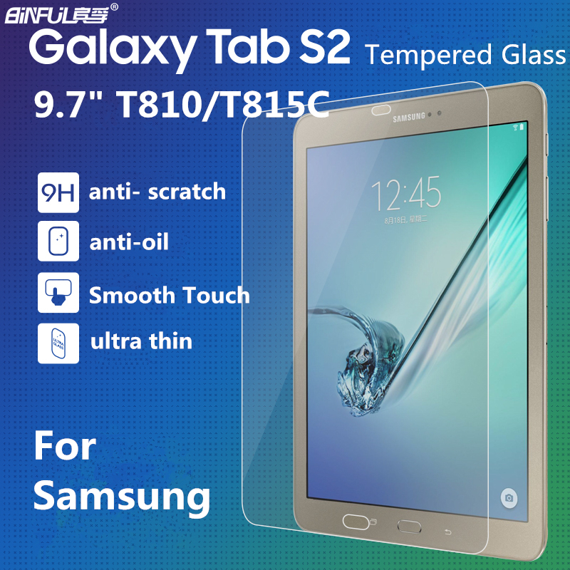 BINFUL Premium Ultra Thin 0.3mm 9H Tempered Glass Screen Protector For Samsung Galaxy Tab S2 9.7 T810 T815 Transparent Film