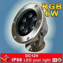 RGB LED Pool Light IP68 DC12V 6W Stainless Steel LED Underwater Light Swimming Pool Led Light for Fountain Pond Swimming Pool