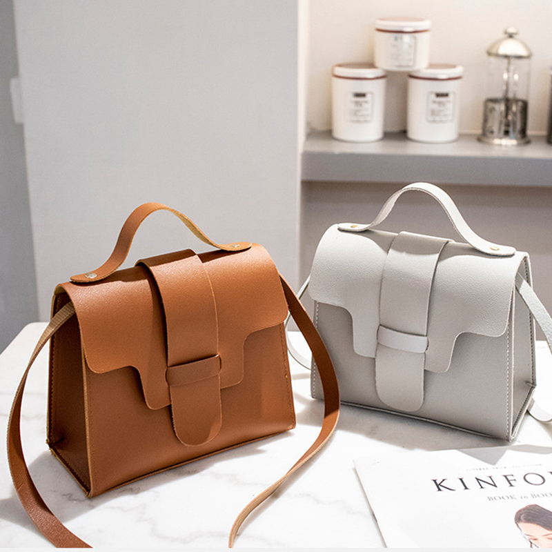 Women Vintage Handbags Small Square Solid Color Simple Female Crossbody Bag New