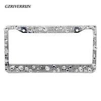1x License Plate Frames Screw Cap Crystal Diamond Rhinestone Bling Mix Clear