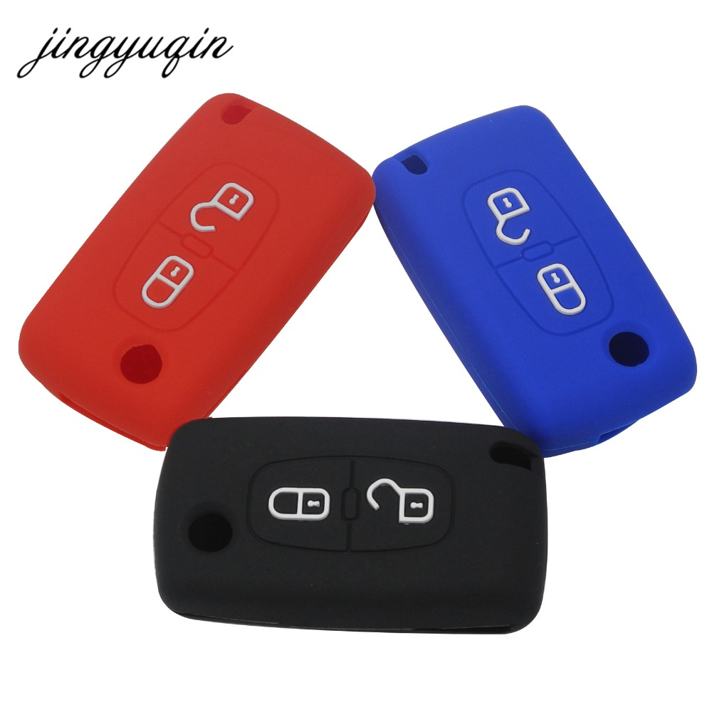 jingyuqin Silicone Case for Peugeot 208 207 308 RCZ 408 407 307 206 for Citroen C4 C5 C3 C2 C4L Xsara Picasso Car Flip Key Cover genuine leather key cover for citroen c2 c3 c4 c5 c6 xsara quatre picasso peugeot 206 307 308 407 408 rcz key chain case keybag