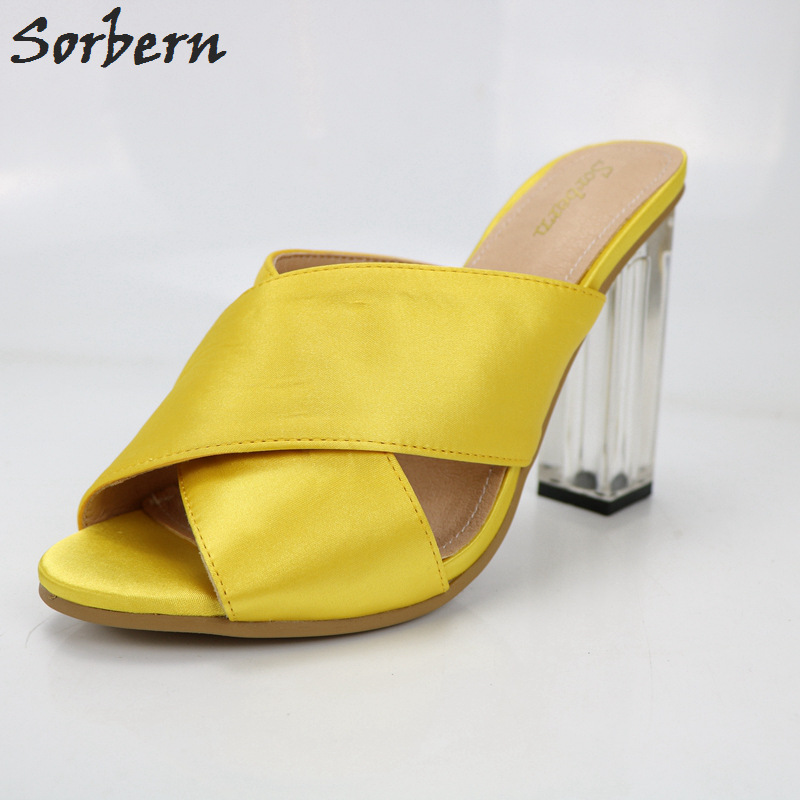 Sorbern Yellow Satin Clear High Heels Open Toe Slippers Women Open Toe Shoes Women Chunky Heeled Transparent Heel Slides Ladies stylesowner rabbit fur plush high heel slippers transparent clear slippers clip toe thin high heels shoes ladies shoes for women