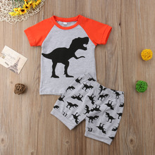 Toddler Kids Baby Boys Dinosaur Print Tops Short T-shirt Striped Short Pants Outfits Clothes Set 2019