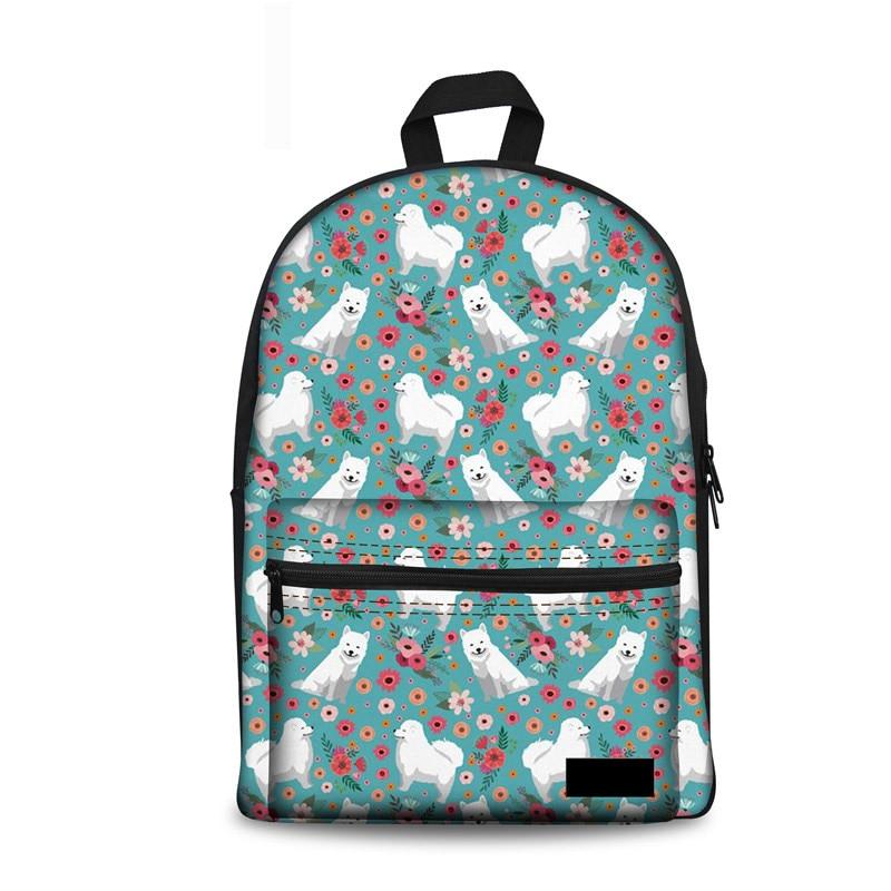 Noisydesigns Women School Bag 2018 Book Bags Samoyed Flower Leisure Schoolbag Backpack T ...