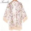 Novas Chegadas 2016 Mulheres Blusas Mais Tamanhos Floral Cardigan Mulheres Tops Chiffon Blusa Batwing Cardigan Kimono Chemise Femme XL