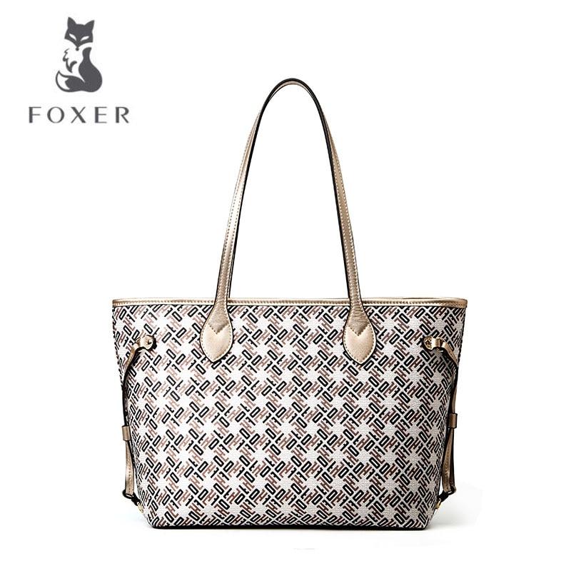 Bag Foxer Neue 2018 Schulter Weibliche Gold Einfache Tote Tasche Wilden Kapazität Big Große Handtasche SIZIgfA