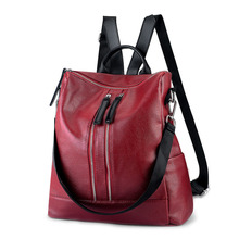 New Multi-functional Women Backpack & Shoulder Bag Synthetic Leather Large Capacity Fashion Ladies Red School Bag Female Purse luodun 2018 split leather crocodile pattern shoulder bag female leather multi functional fashion ladies backpack