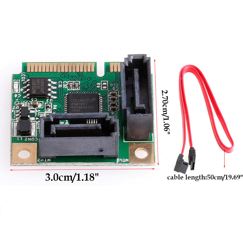 Mini PCIe PCI-Express to 2 Ports SATA 3.0 III 6Gb/s Expansion Card Single Chip #D