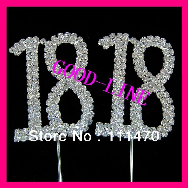 50mm number 18 rhinestone crystal diamante cake topper for anniversary+free shipping+wholesale