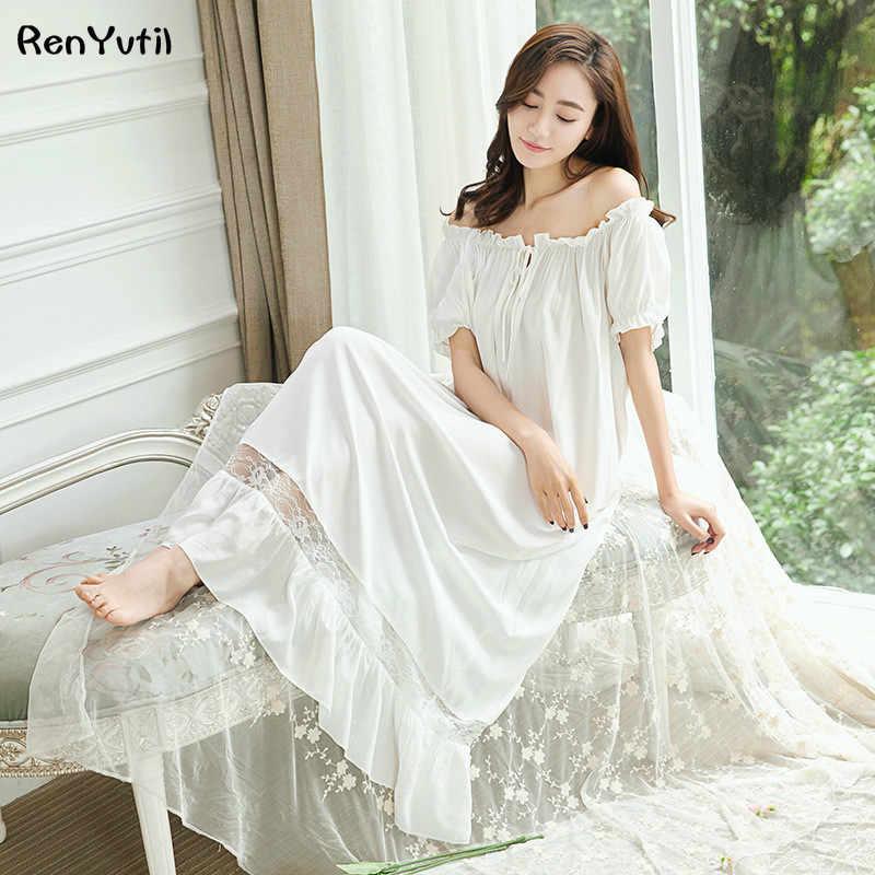 bca54e1665 RenYvtil Retro Royal Princess Nightdress Soft Lace Guaze Nightgowns Vintage  Cotton Sexy Elegant Lady Long Sleeping