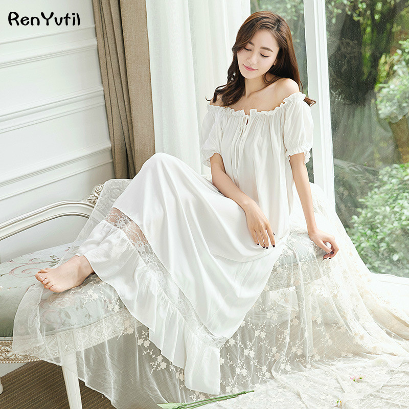 RenYvtil Retro Royal Princess Nightdress Soft Lace Guaze Nightgowns Vintage Cotton Sexy Elegant Lady Long Sleeping Dress