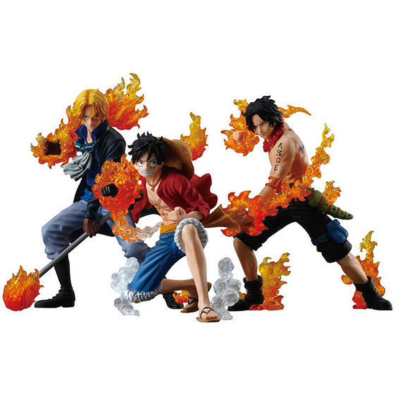 3Pcs One Piece Flame Three Brother Luffy Ace Sabo PVC Action Figure Collection Model Toy Japan Anime  Figure Model Kids Gift anime cartoon one piece sabo 25cm action figure collection pvc model children toy gift