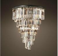 Free Shipping Modern Black Vintage Crystal Pendant K9 Clear Crystal Hanging Light Hotel Hall Living Room Dining Room AC 110 240V