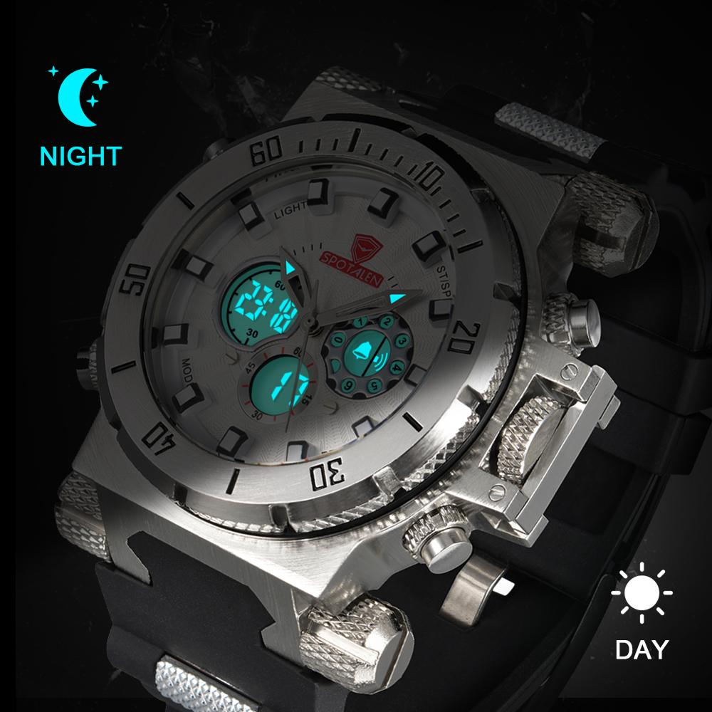 Sports Watch Men Big Face Analog Digital Double Display Men Clock Military White Waterproof Watch LED Watch Relogio Masculino in Quartz Watches from Watches