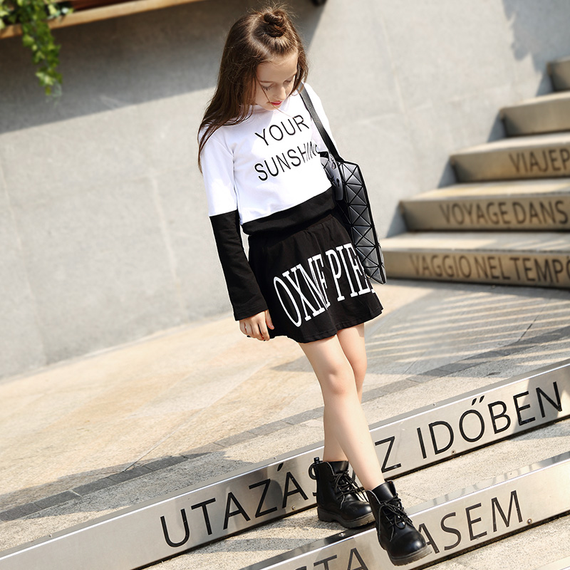 2016 Big Girl Autumn Designs Dress Set For Teen Girls Kids Cotton Shirt 2 Piece Dress For Age 5 6 7 8 9 10 11 12 13 14 Years Old girl dress autumn white long sleeved clothes korean cotton size 4 5 6 7 8 9 10 11 12 13 14 years kids blue lace princess dress