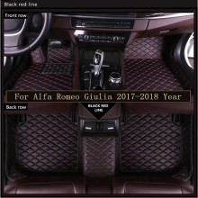 New 3D Leather Car Floor Mats For Alfa Romeo Giulia  2017-2018 Custom Auto Foot Pad Automobile Carpet Cover