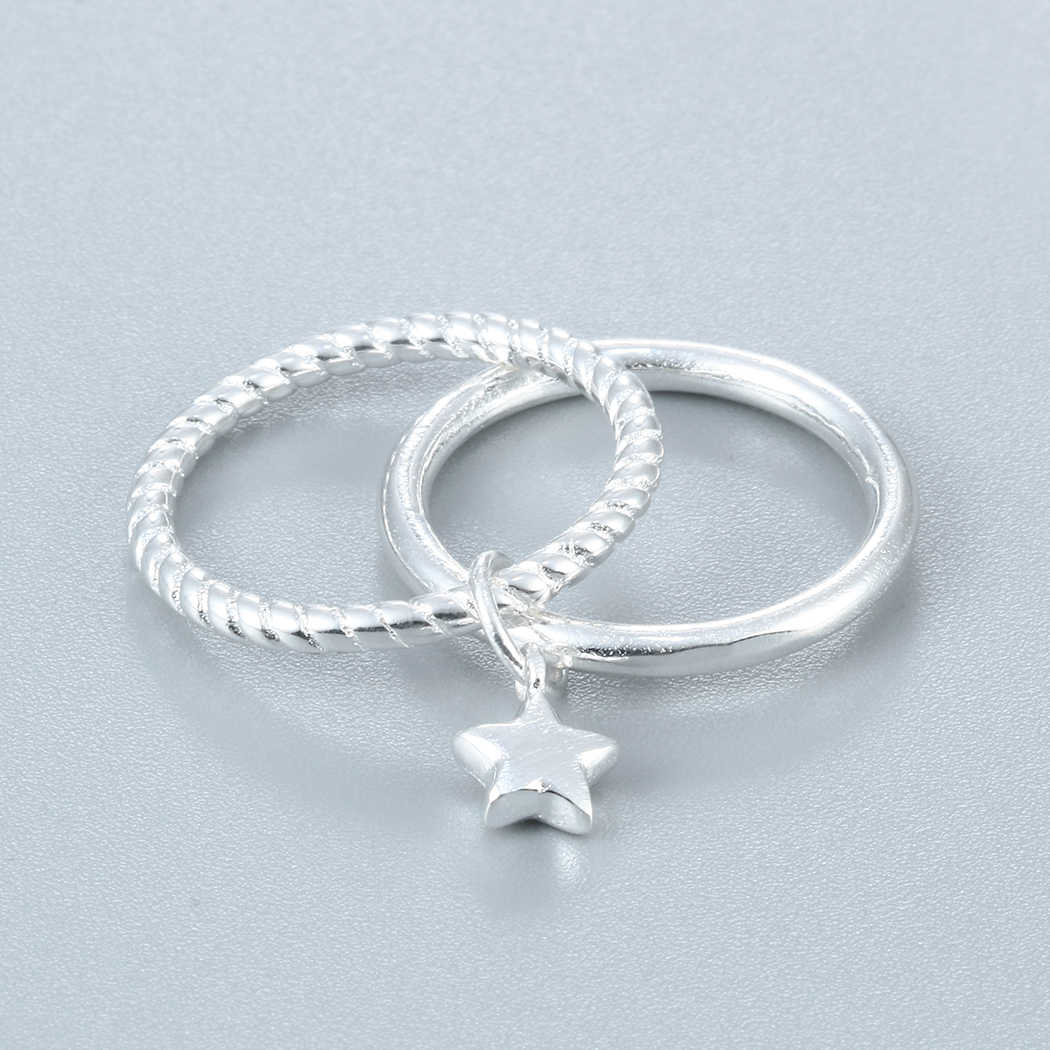 Двухслойные Серебряные звезды кольца, подарок на Рождество новый бренд милый корейский оптовая продажа 925 модное серебряное кольцо для женщин