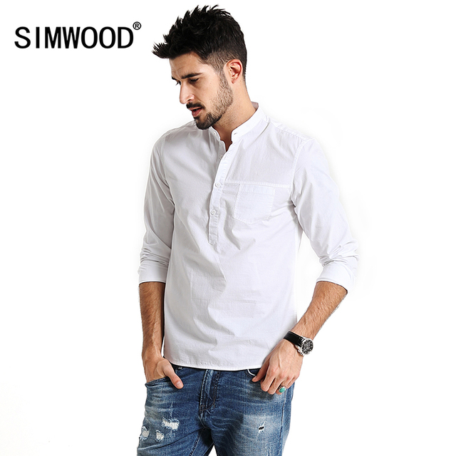 a8dc3823b7 SIMWOOD 2019 spring Casual Shirts Men Long Sleeve 100% Pure Cotton Brand  Henry collar Slim Fit Brand Clothing CS1595