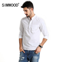 SIMWOOD 2017 Spring Casual Pullover Shirts Men Long Sleeve 100 Pure Cotton Brand Breathability Slim Fit