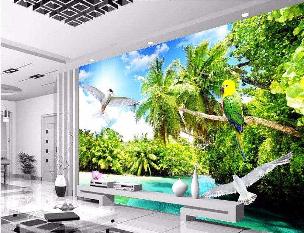 3d Wallpaper Custom Photo Seaside Coconut Tree Seagull Scenery Living Room Decoration Painting 3d Wall Murals Wallpaper