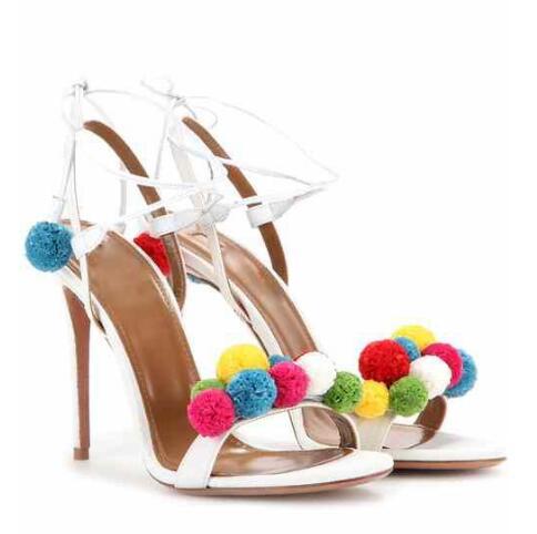 ФОТО 2016 summer newest novel multi-color pom pom embellished high heel sandal lace up ankle strap colofurful pellet sweet sandals