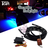 Tcart Auto Led RGB Car Underglow Flexible Strip LED RGB Decorative Atmosphere Lamp Under Tube Underbody System Neon Light Kit