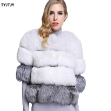 Fashion abrigos mujer invierno 2018 new artificial fox fur short five-point sleeve imitation coat stitching faux