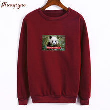 Panda Picture Print Women Autumn Sweatshirt Letters Printed Hoodies Winter Fleece Thick Hipster Street Jumper Drop Shipping