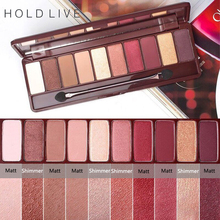 ФОТО hold live 10 colors matte shimmer eyeshadow palette maple song love pigment glitter red eye shadow pallete nude cosmetics makeup