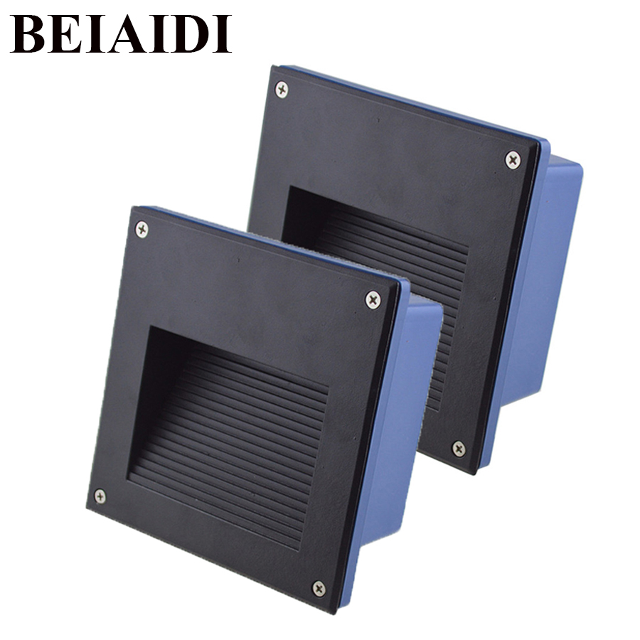 BEIAIDI 4PCS Outdoor LED Recessed Stair Lights Aluminum Porch Pathway Step Stair Light Waterproof Concrete wall Stairway Nights