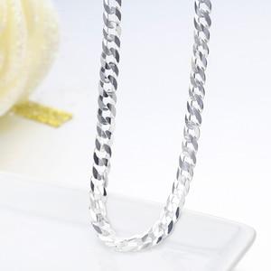 Image 5 - 925 Sterling Silber Curb Kette Link Halsketten Männer Schmuck collares kolye Collier Hiphop 50 cm 55 cm 60 cm 4mm 6mm halskette collane