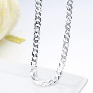 Image 5 - 925 Sterling Silver Curb Chain Link Necklaces Men Jewelry collares kolye Collier Hiphop 50cm 55cm 60cm 4mm 6mm ketting collane