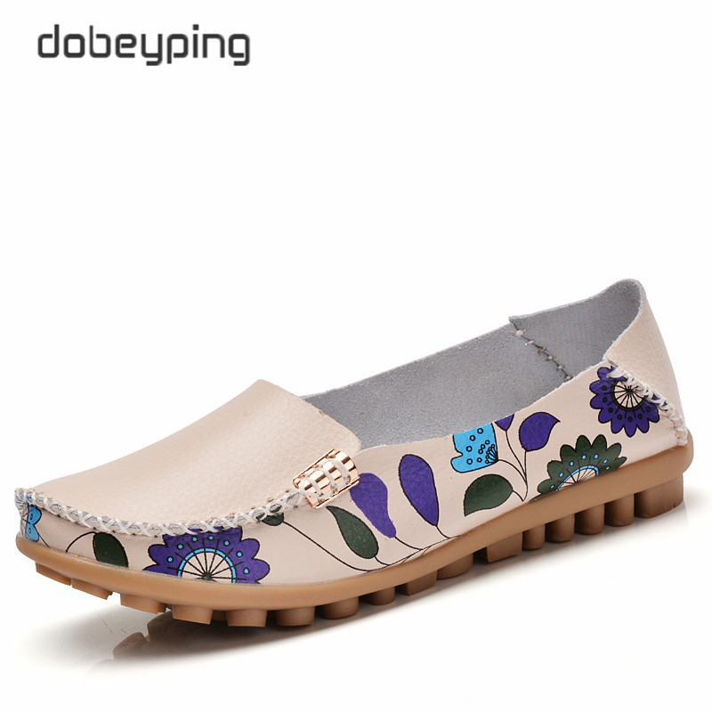 2017 New Design Print Flower Women's Casual Shoes High Quality Genuine Leather Women Flats Slip On Female Loafers Lady Boat Shoe 2017 summer women s casual shoes genuine leather woman flats slip on femal loafers lady boat shoe big size 35 44 in 8 colors