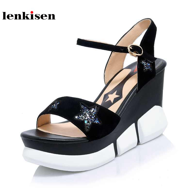 Lenkisen  cow leather peep toe summer women shoes bling bling buckle straps fashion super high heels solid wedges sandals L58 spring summer new fashion sexy women pumps peep toe wedges platforms high heels sandals shoes woman buckle 35 42 loslandifen